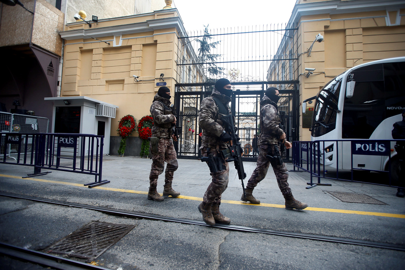 Members of police special forces patrol outisde the Russian Consulate in Istanbul, Turkey, Dec. 20, 2016.