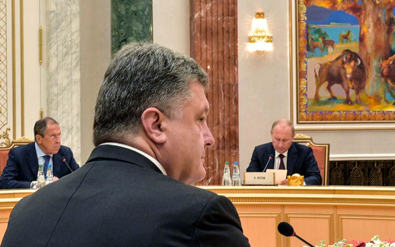 Владимир Путин, Сергеј Лавров и Петро Порошенко. 27.08.2014./ Ројтерс
