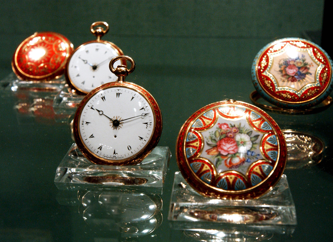 Early 19th century's clocks (in pic) are displayed at an exhibition of antique Breguet timepieces which has opened in St.Petersburg's State Hermitage Museum.