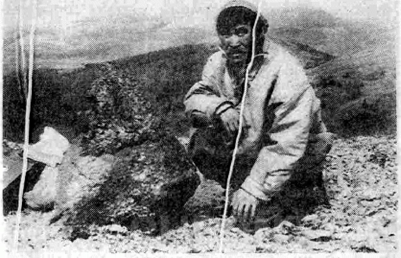 "Еленовъд Иван Тинави с метеорита ""Омолон"". Архивна снимка"