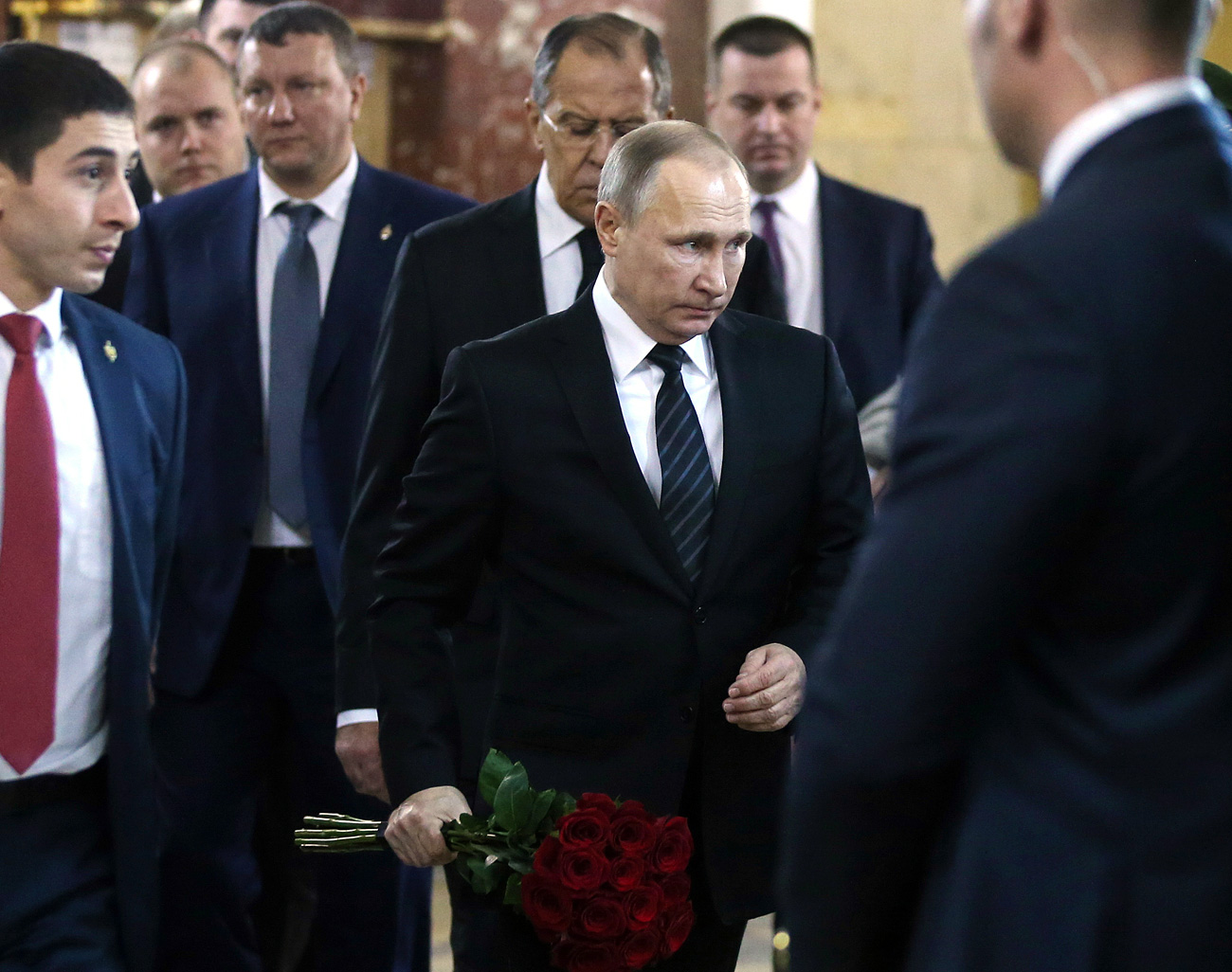 Dec. 22, 2016. Russian President Vladimir Putin at the ceremony to pay last respects to Russian Ambassador to Turkey Andrei Karlov, at the Russian Foreign Ministry.