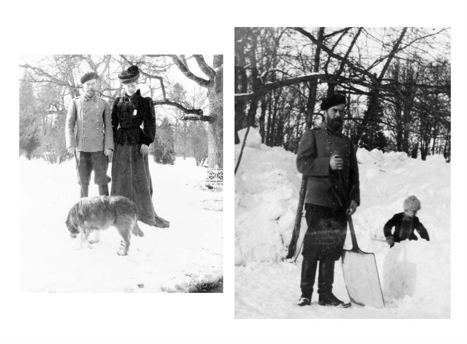 Nicholas ӀӀ and Empress Alexandra Fyodorovna on a walk during winter time. / Nicholas ӀӀ clearing snow at Tsarskoye Selo with son Alexei.
