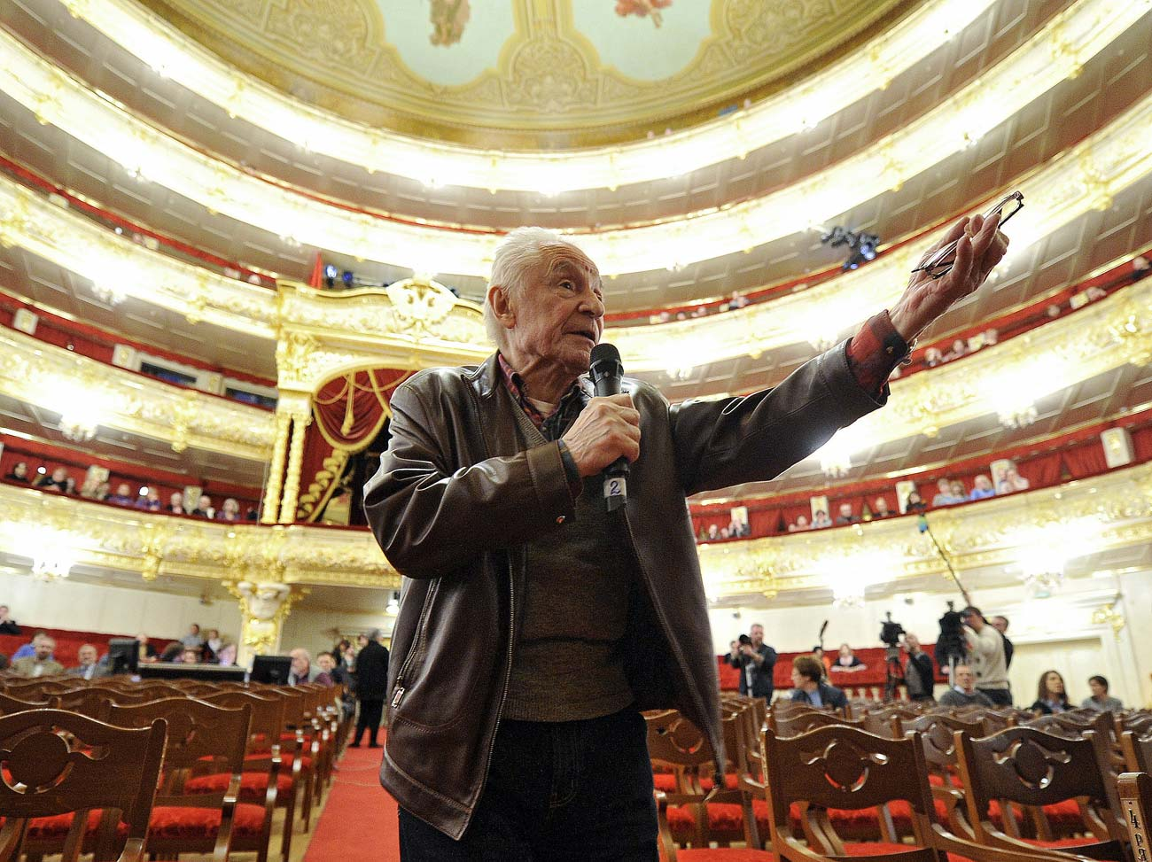 "Ballet master Yuri Grigorovich directs the rehearsal of Peter Tchaikovsky's ""Sleeping Beauty"" ballet at the state academic Bolshoi Theatre"