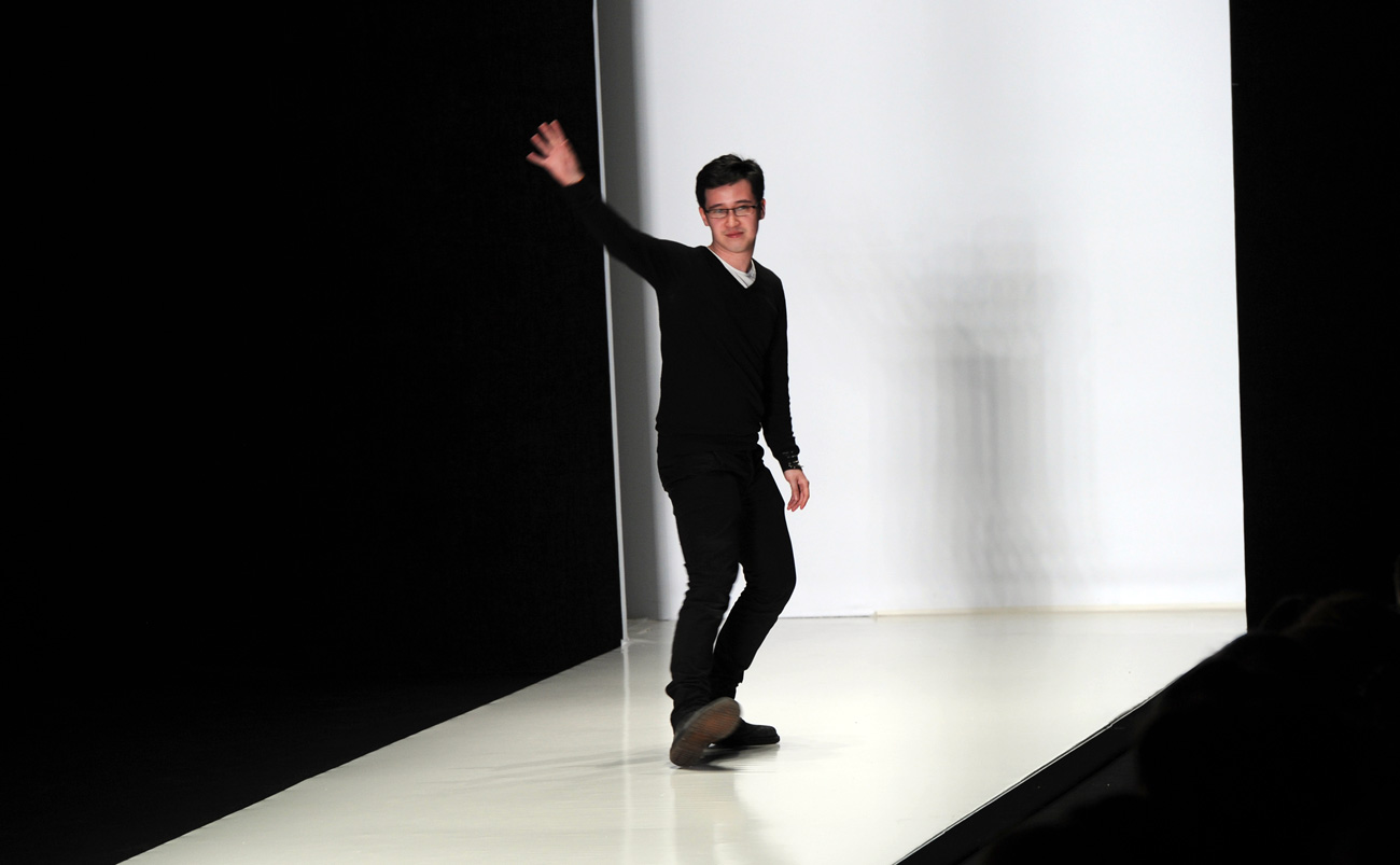 Fashion designer Timur Kim after the show of his collection during the Mercedes-Benz Fashion Week Russia at the Manezh Central Exhibition Hall. Source: Vladimir Vyatkin/RIA Novosti