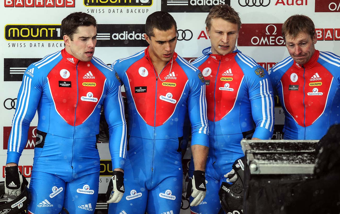 From right: Russia's Alexander Zubkov, Dmitry Trunenkov, Aleksei Negodailo and Maksim Mokrousov during the four-man bobsleigh event at the FIBT Bobsleigh and Skeleton World Championships in St. Moritz, Switzerland.