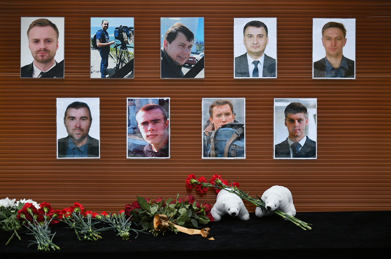 Flowers in remembrance of the nine journalists from three Russian TV channels who died in the plane crash.