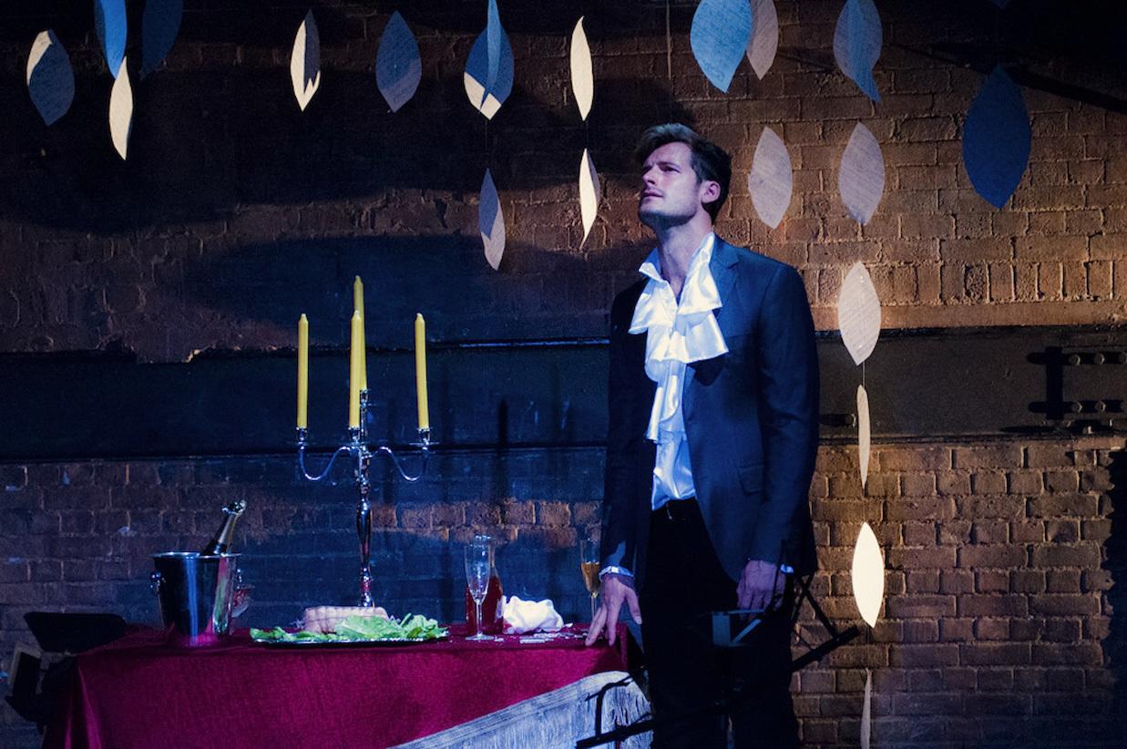 Mozart & Salieri at the Arcola Theatre, Grimeborn Festival. Nick Dwyer as Salieri.