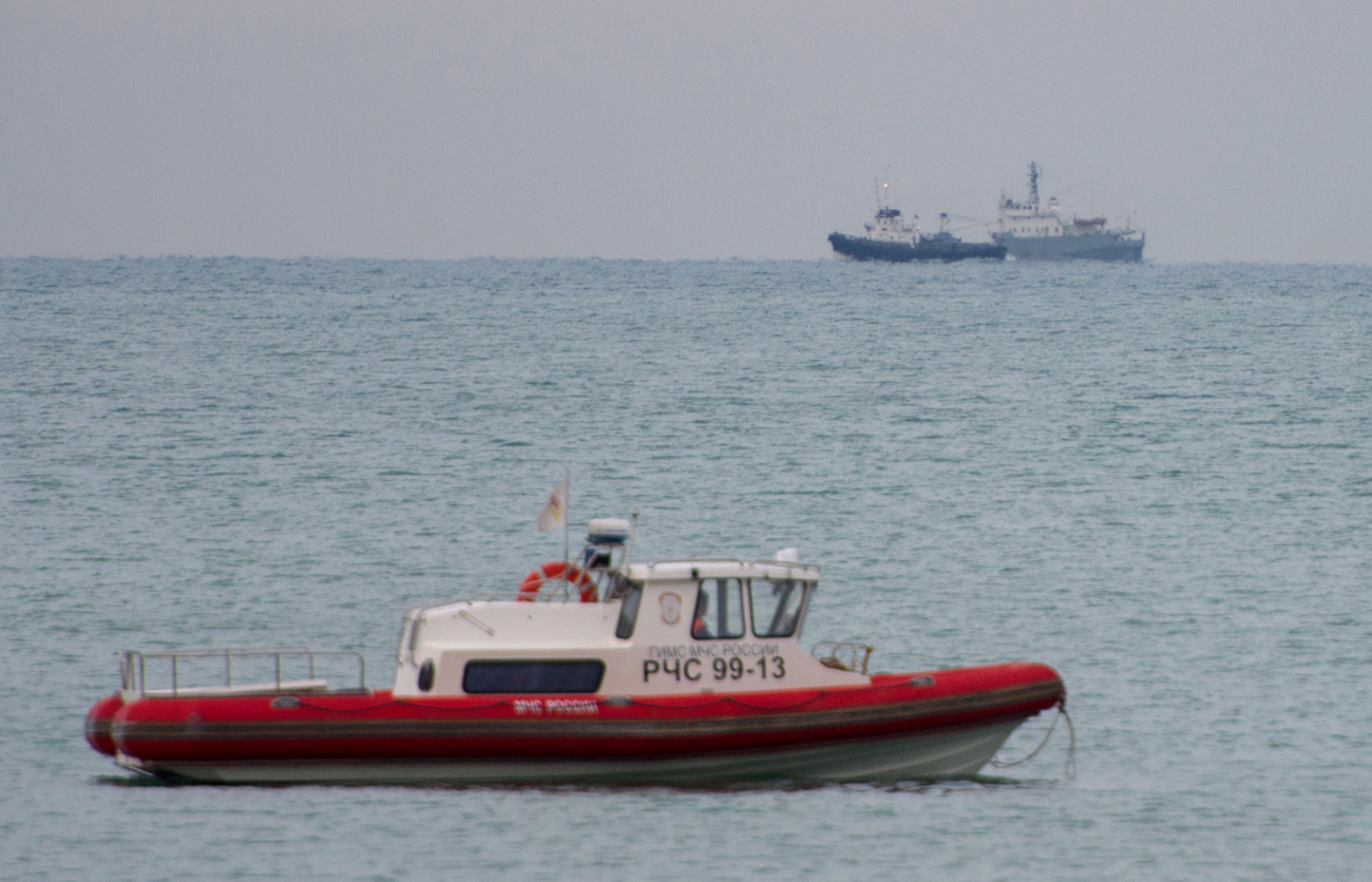 A search operation near the Black Sea coast where a Tu-154 plane of the Russian Ministry of Defense crashed near Sochi.