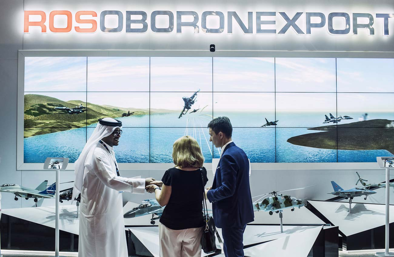 The Rosoboronexport stand at the Dubai Airshow international exhibition.