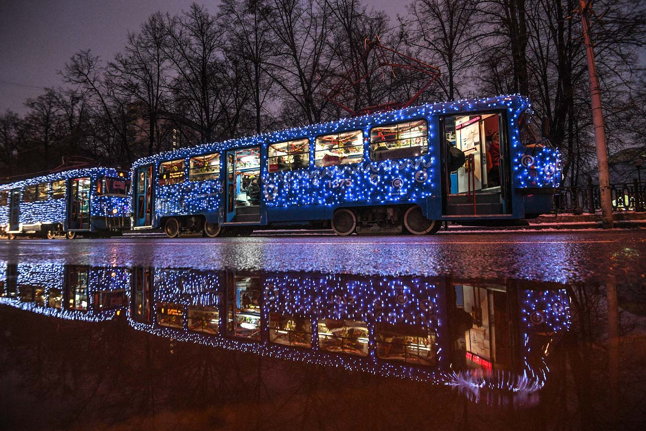 Themed Christmas tram. Russia. Moscow