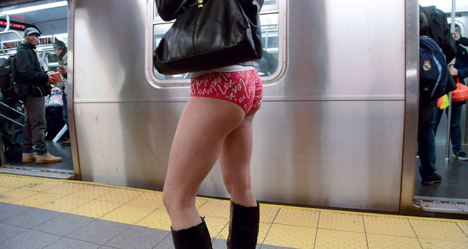 "The ""No Pants Subway Ride"" was held globally for the 15th time. Pictured: ""No Pants Subway Ride"" in New York subway."