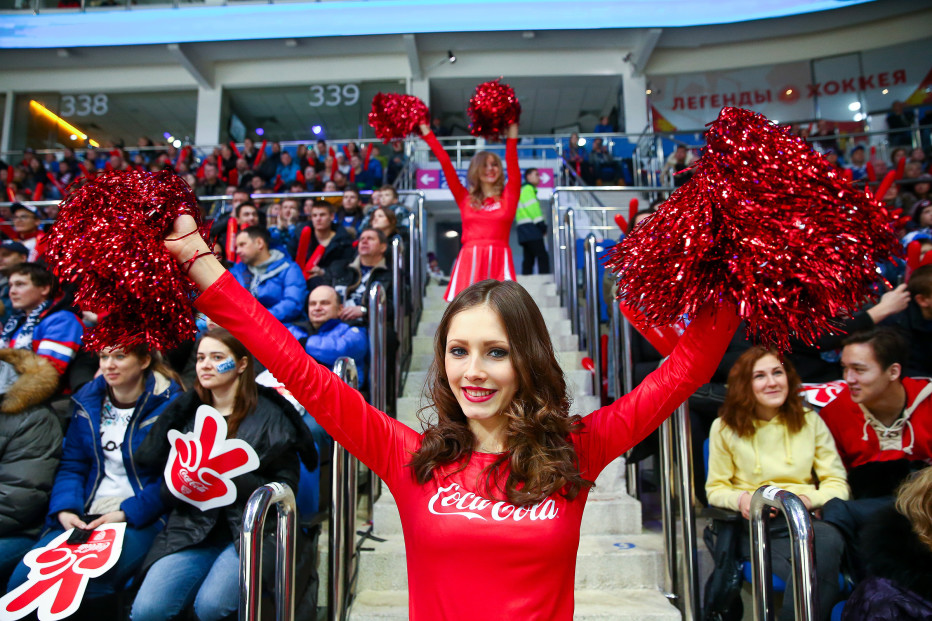 A cheerleader taking part in a Coca-Cola advertising campaign during a Kontinental Hockey League All-Star Game 2016 in Moscow.
