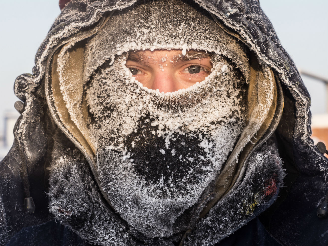A young man near Nefteyugansk. The temperature dropped to minus 62 degrees Celsius (-79.6 Fahrenheit), Dec. 22, 2016.