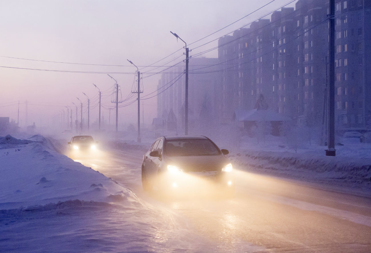 Cars near Nefteyugansk, Western Siberia. The temperature dropped to minus 62 degrees Celsius (-79.6 Fahrenheit), Dec. 22, 2016