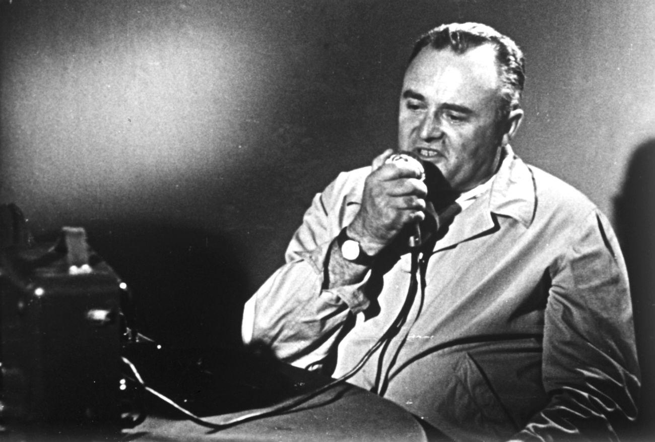 Libéré sur ordre de Staline en 1944, Sergueï Korolev est désigné deux ans plus tard constructeur en chef de missiles balistiques de longue portée à Kaliningrad (aujourd'hui rebaptisée Korolev en son honneur), dans la région de Moscou. Sur la photo : Sergueï Korolev le jour du premier vol spatial habité.