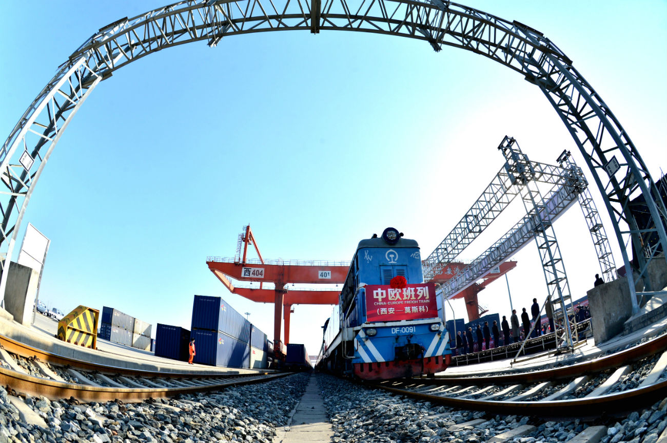 The first freight train service linking Xi'an, capital of northwest China's Shaanxi Province, with Moscowin December 2016.