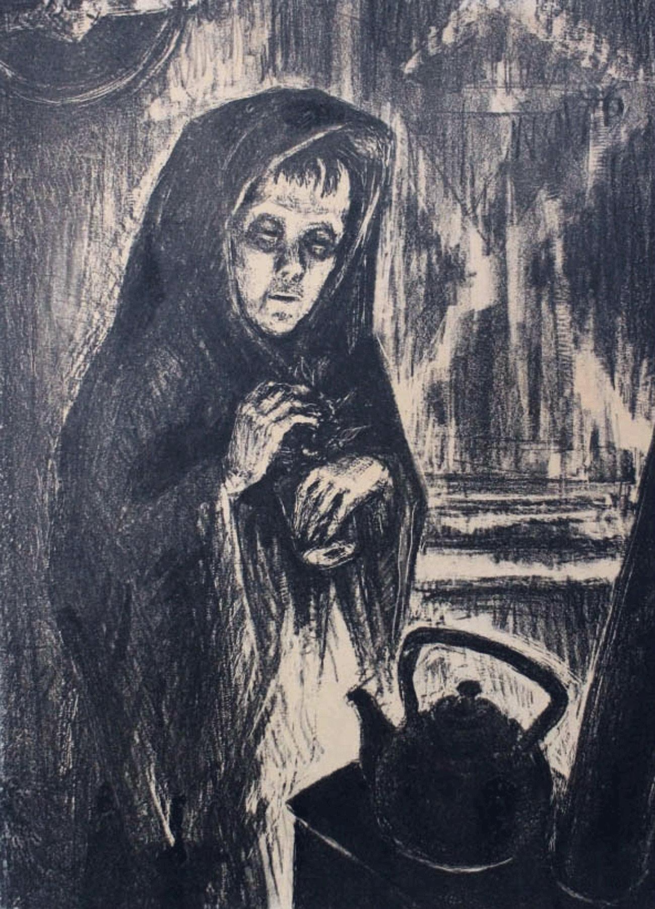 Pendant près de 900 jours, Leningrad (actuelle Saint-Pétersbourg, ndlr) fut bloqué par les nazis. Née en 1923, Elena Marttila avait 18 ans au début du siège et son art captura toute l'ampleur de la mort et des souffrances de la ville martyre. Sur l'image : Tanya seule