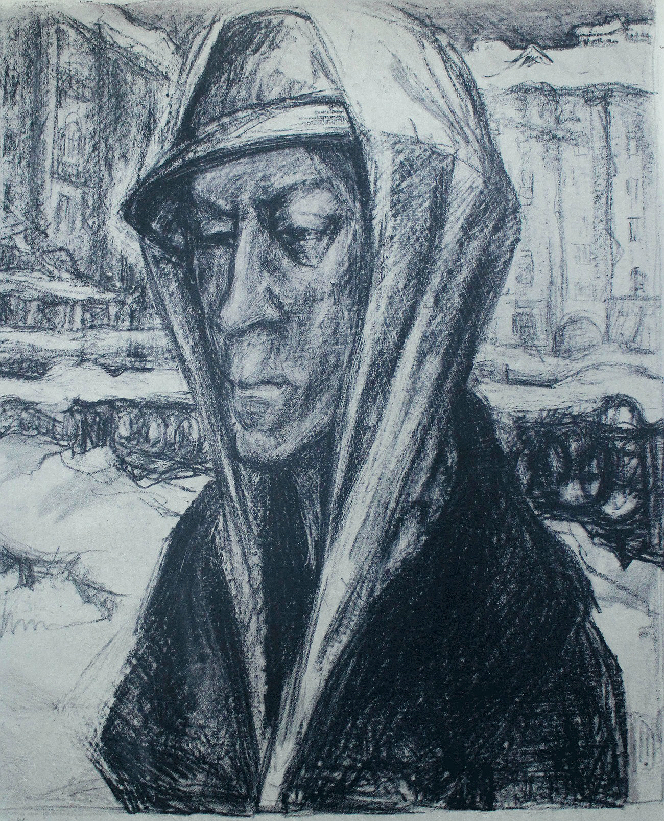 """Elena's vision of the Siege of Leningrad conflicted with the heroic narrative promoted by the authorities, and after the war she was ordered to destroy her work,'' said the exhibition curator, Ksenia Afonina. ""However, she was determined to preserve it as a testimony for future generations. She transformed her sketches into full-fledged images using lithography and engraving on cardboard, vividly recreating the blurred sight that afflicted Leningrad's malnourished inhabitants through her unique printmaking techniques. Marttila's art allows us to see the siege of Leningrad literally through the eyes of those who endured it."