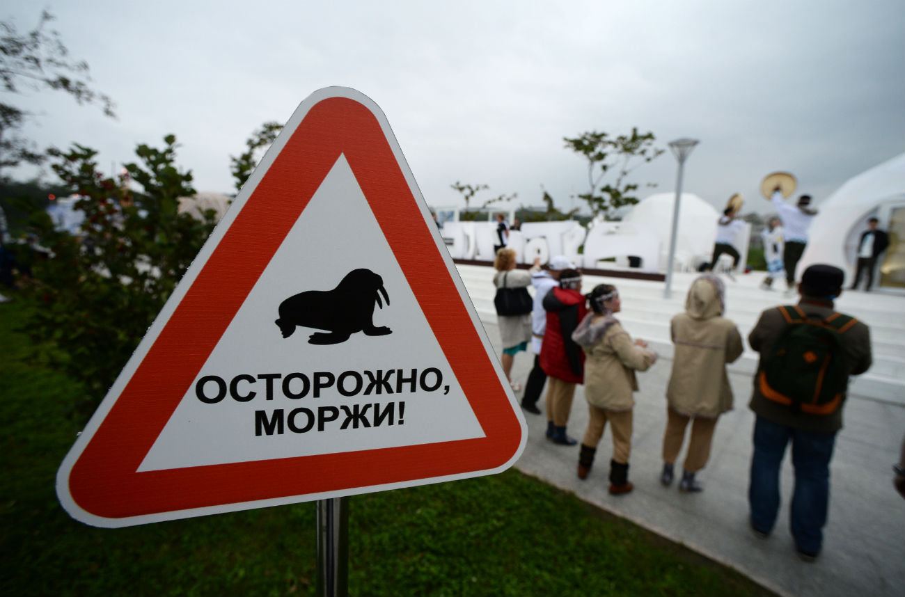 "The sign ""Caution, walruses"" was placed in the ""Chukhotka"" Pavilion during the 2016 Eastern Economic Forum in Vladivostok. The Pacific Ocean walruses are an integral part of the population of the Chukhotka Autonomous Territory."