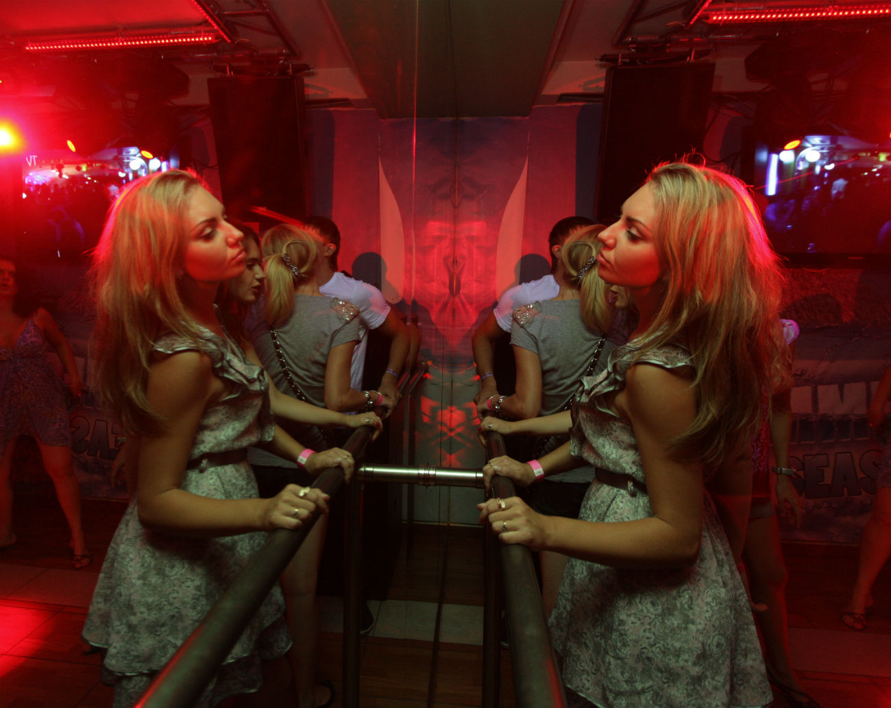 A visitor of a party at a Moscow night club. 28.07.2011