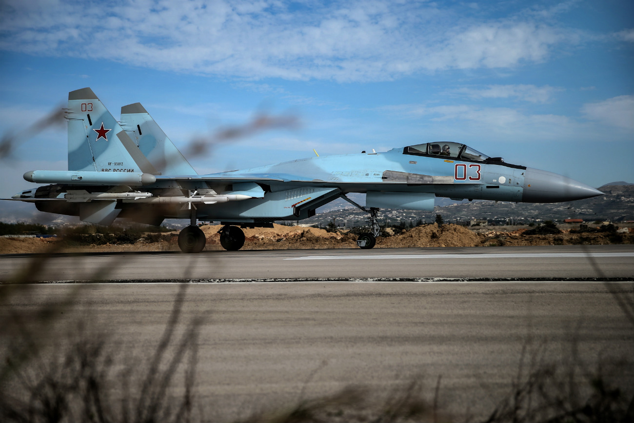 LATAKIA, SYRIA. FEBRUARY 18, 2016. A Sukhoi Su-35 4++ Generation multirole fighter takes off at the Hmeymim airbase.