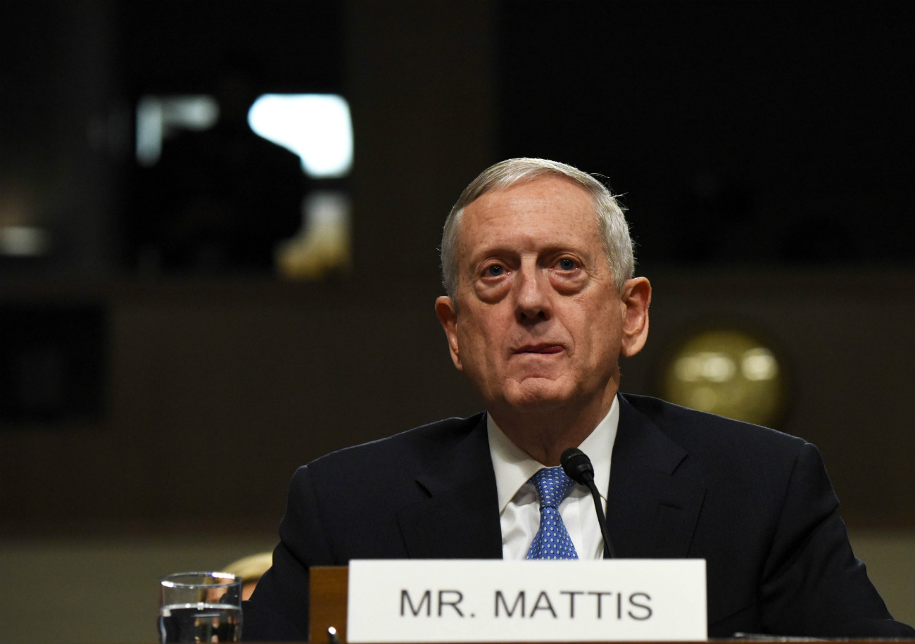 Defense Secretary nominee James Mattis testifies before Senate Armed Services Committee on his nomination on Capitol Hill in Washington D.C., the United States, Jan. 12, 2017.