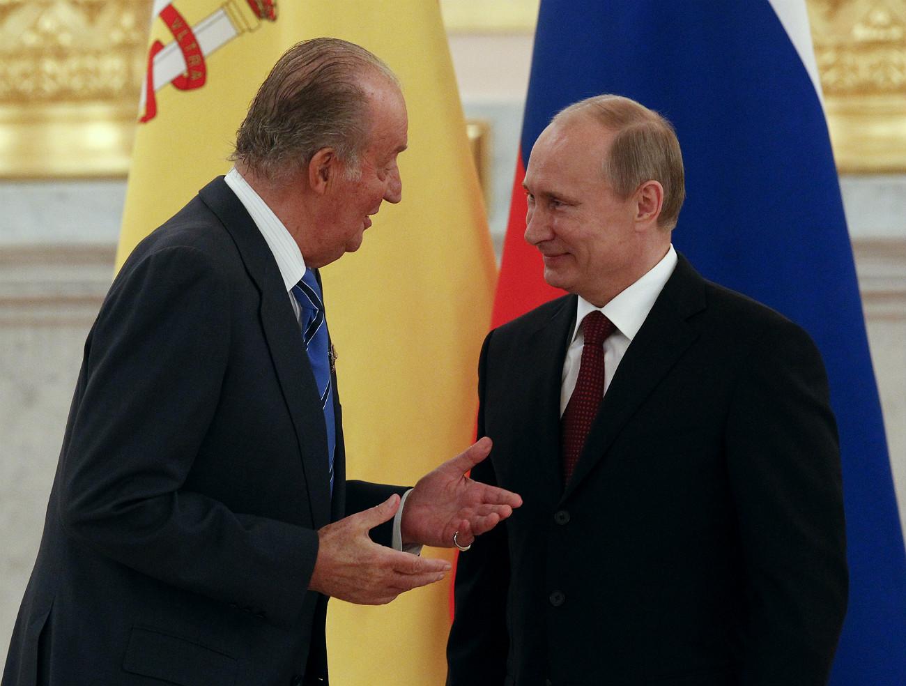 Vladímir Putin con Juan Carlos en el Kremlin.