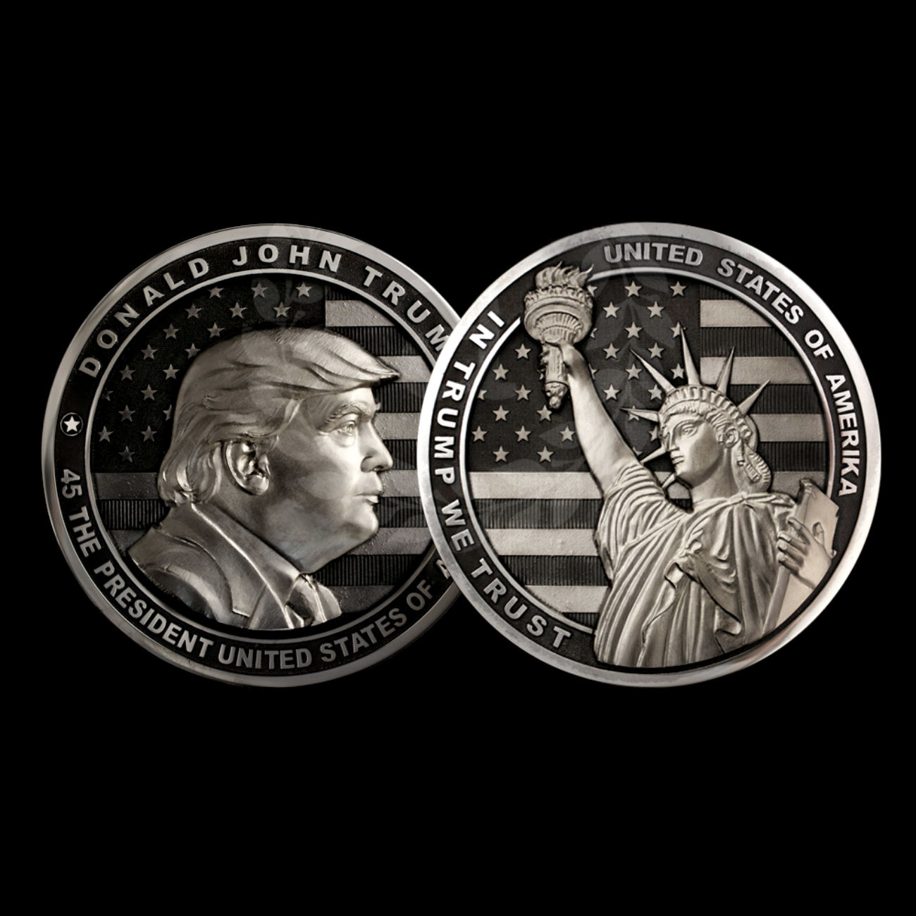 "The coin's obverse features Trump's profile image as well as an inscription ""Donald John Trump, the 45th President of the United States of America"" and the country's flag."