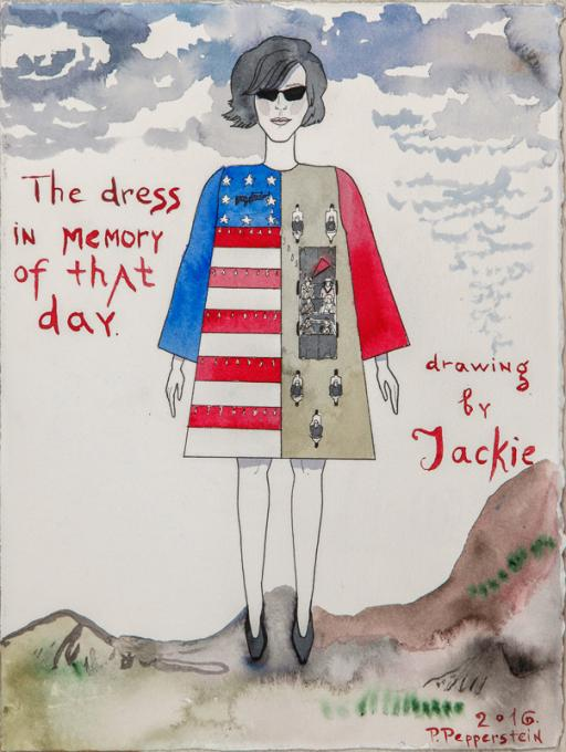 """""""The dress in memory of that day. Drawing by Jackie"""" by Pavel Pepperstein"""