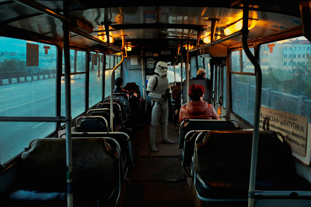 """Star Wars"" a bordo di un autobus russo"