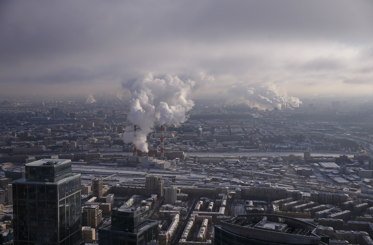 "A view from the roof of the skyscraper OKO, one of the towers of the Moscow International Business Centre also known as ""Moskva-City"", Dec. 15, 2016."