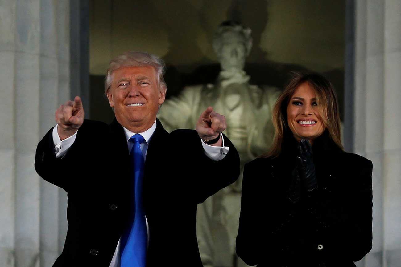 U.S. President-elect Donald Trump and his wife Melania take part in a Make America Great Again welcome concert in Washington, U.S. Jan. 19, 2017.