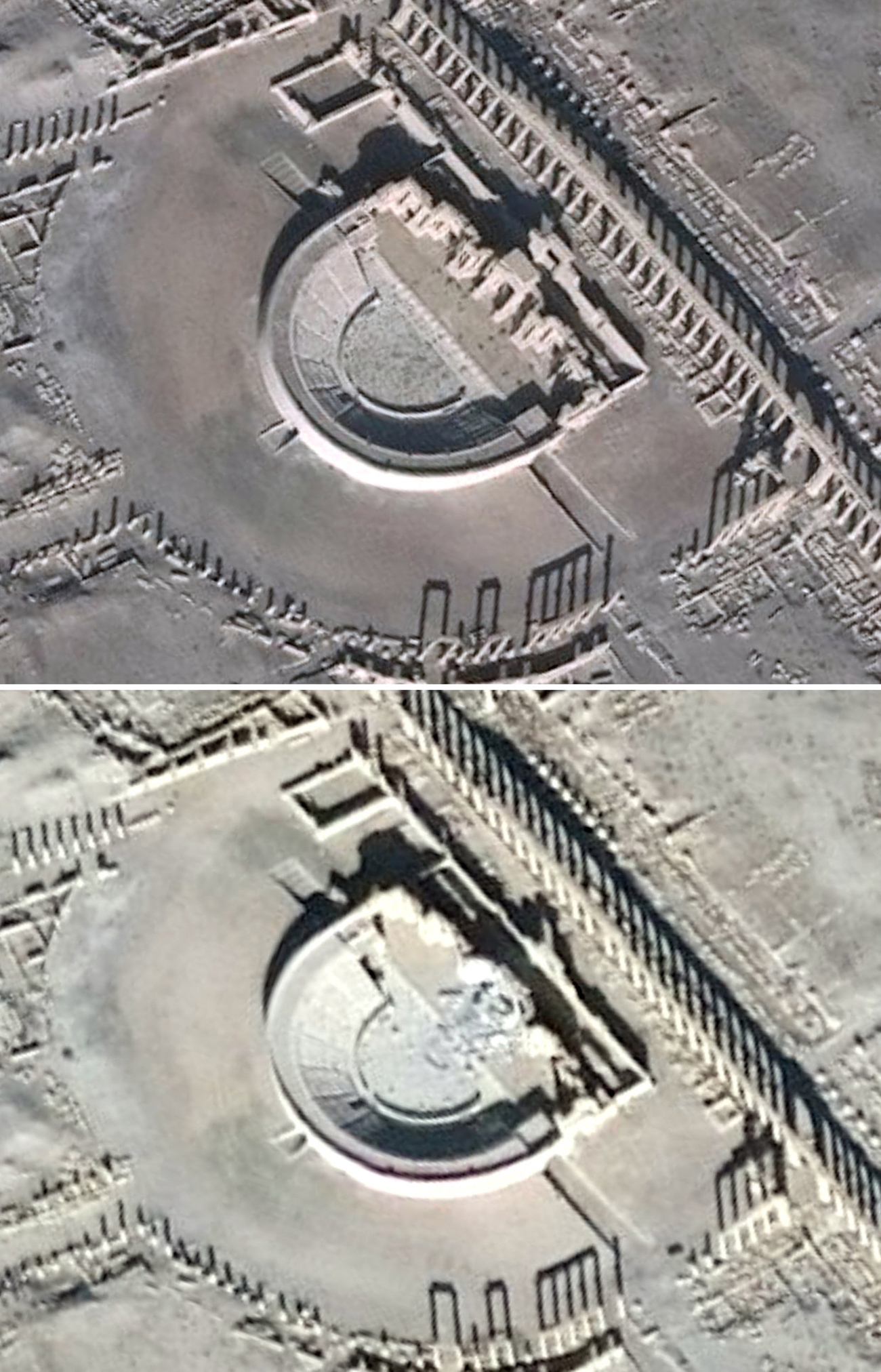 A combination of satellite pictures shows the Roman Amphitheater before and after it was damaged, in the historical city of Palmyra, in Homs Governorate, in these handout picture acquired on Dec. 26, 2016 (top) and Jan. 10, 2017.  Source: Reuters