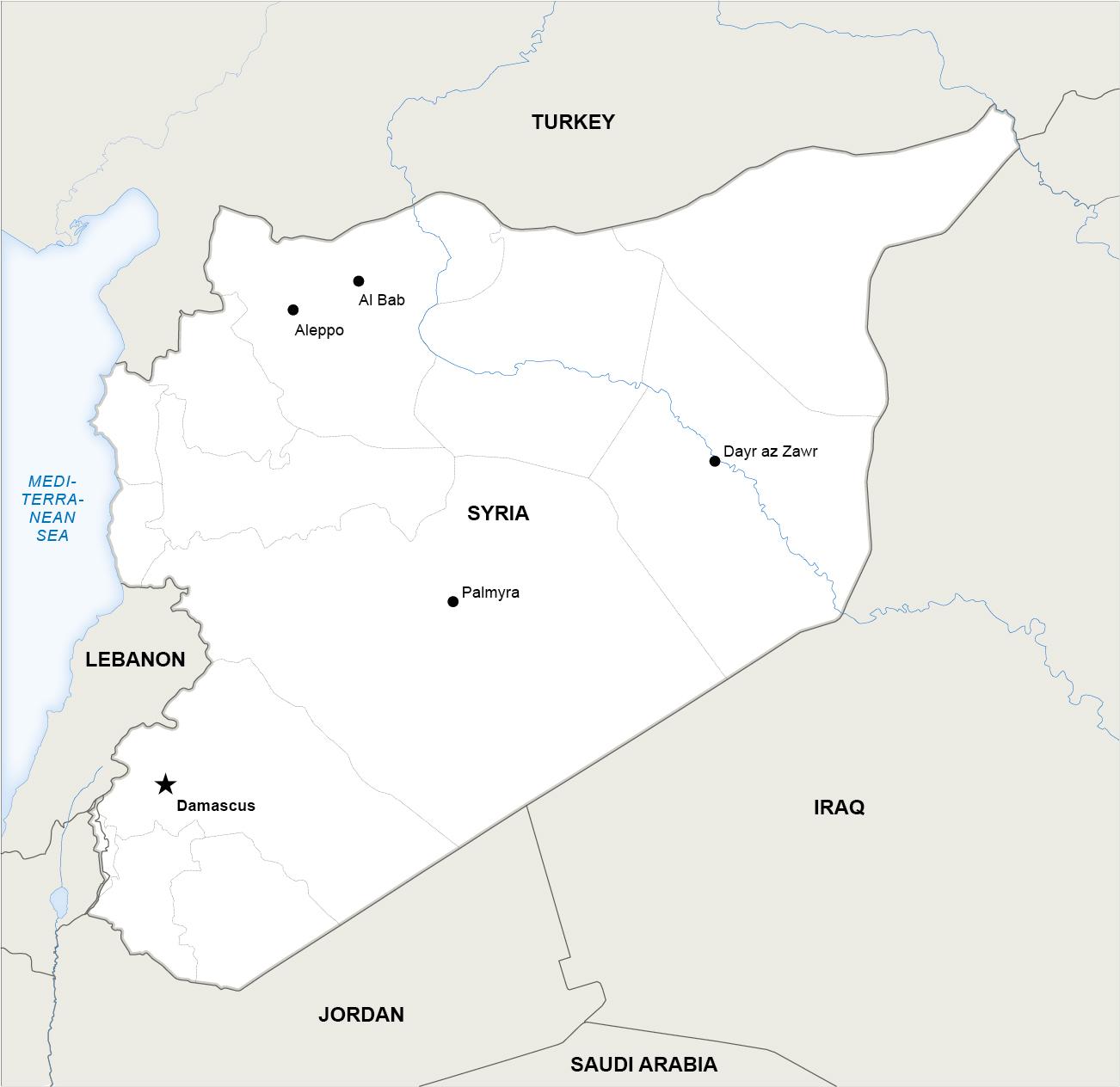 La mappa della Siria. Fonte: Onestopmap - Rbth