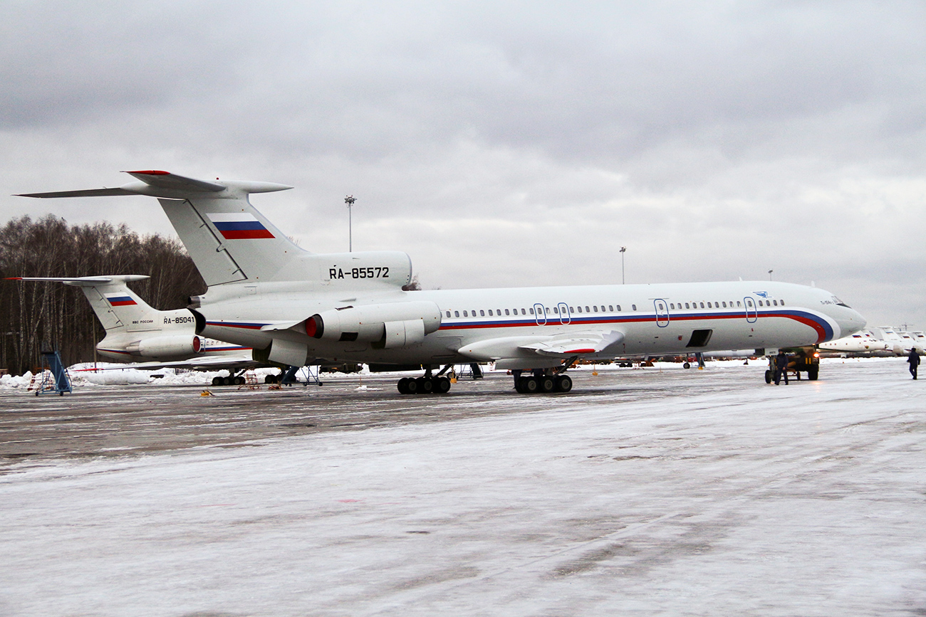 Tu-154 plane with registration number RA-85572, foreground, at Chkalovsky military airport near Moscow, Russia. A Russian plane with 92 people aboard, including a well-known military band, crashed into the Black Sea on its way to Syria on Dec. 25, 2016.