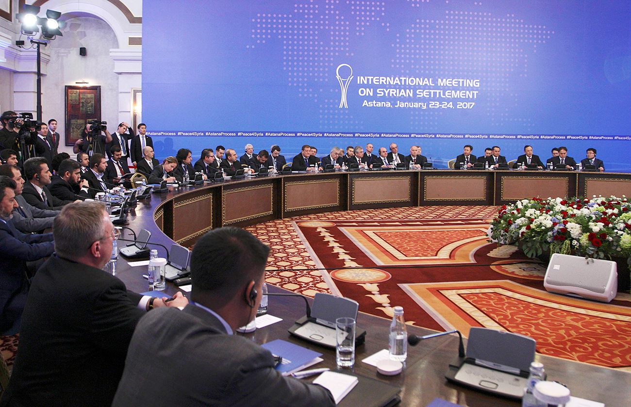 Participants of Syria peace talks attend a meeting in Astana, Kazakhstan, Jan. 23, 2017