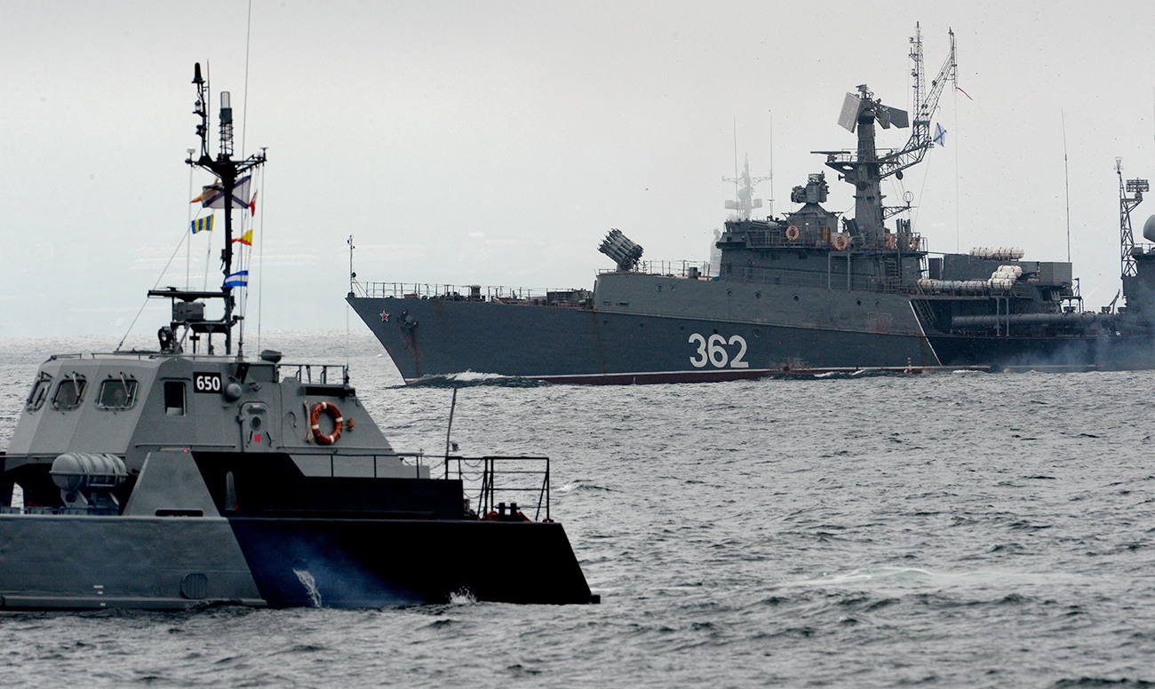 Бродови на Тихоокеанската флота на РФ во близина на Владивосток, Приморска област, Русија