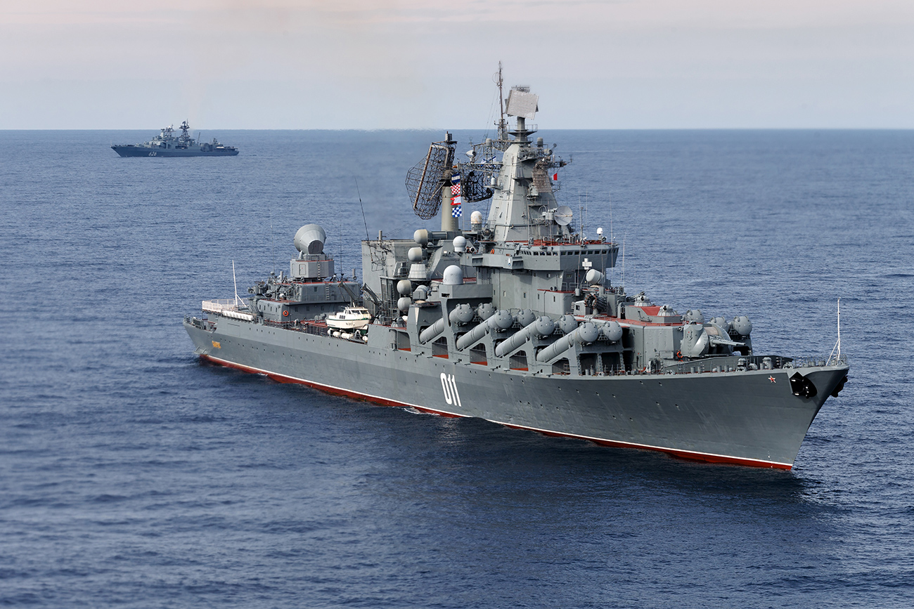 Experts say that Moscow earned the right to a base in Tartus as remuneration from Damascus for its assistance in the war against the Islamic State. Photo: The Russian missile cruiser Varyag, with the Russian navy destroyer Vice Admiral Kulakov in the rear, on patrol in eastern Mediterranean.