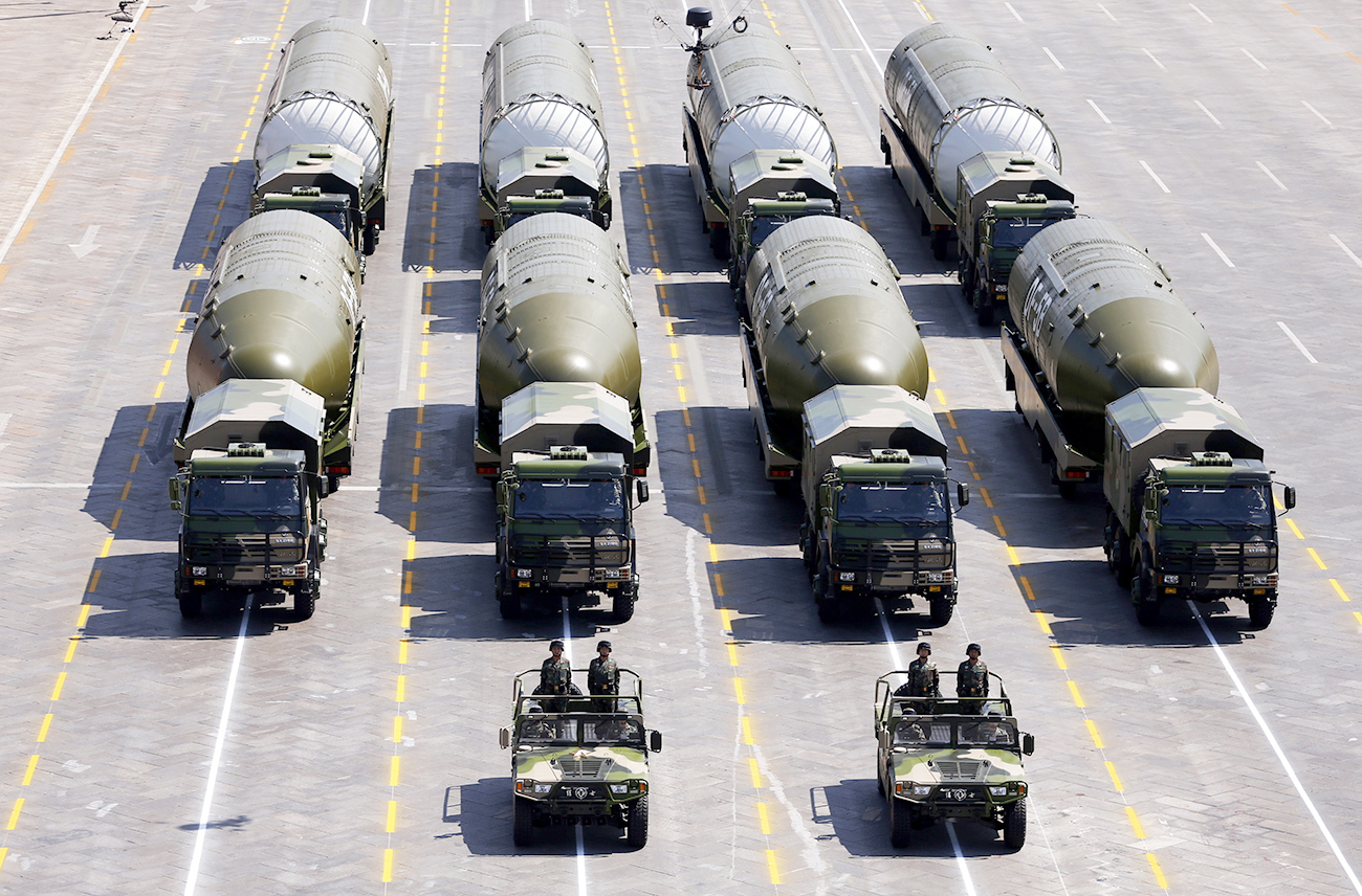 The DF-5B nuclear missiles attend the military parade in Beijing.