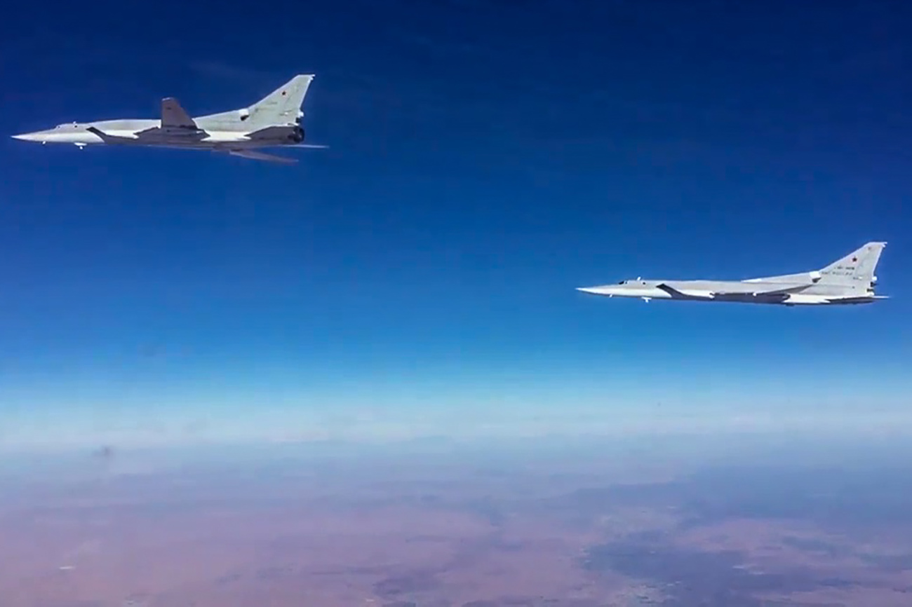 Tu-22M3 supersonic long-range strategic strike bombers of the Russian Aerospace Forces attack the terrorist facilities in the Deir ez-Zor Governorate.