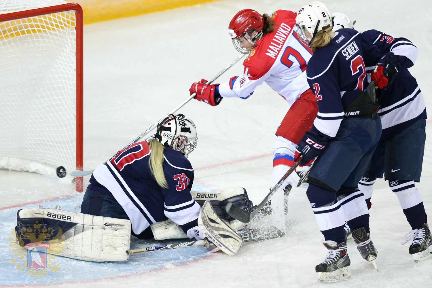 Russian women hockey team during the match with U.S. team.