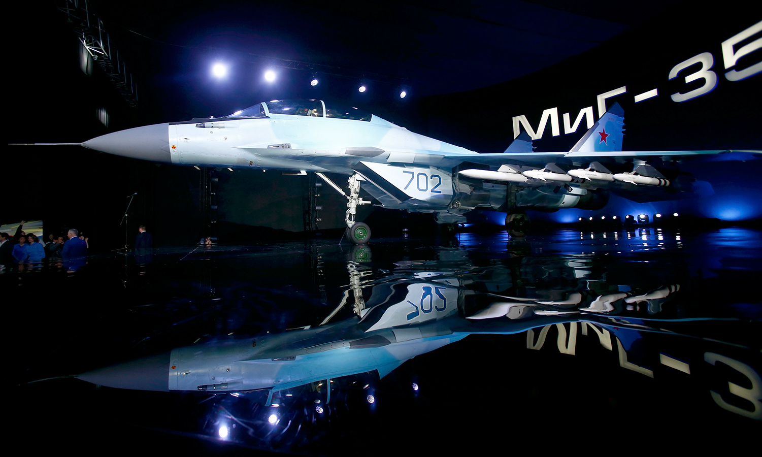 A new multi-role Russian MiG-35 fighter is displayed during its international presentation at the MiG plant in Lukhovitsy outside Moscow, Russia.