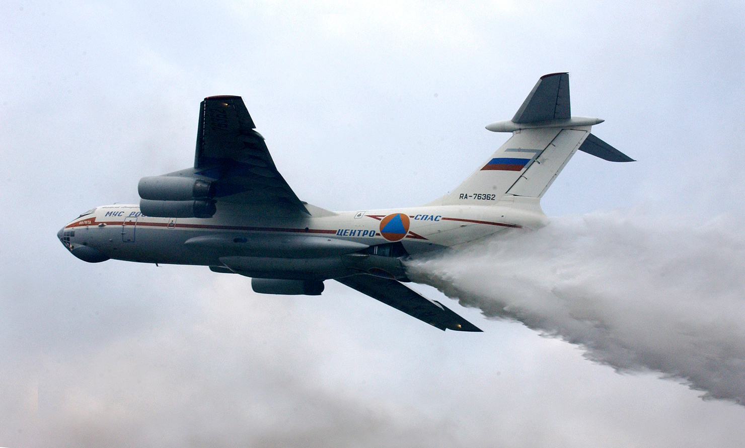 The Il-76 is capable of dropping over 42 tons of water on wildfires at a time and is the world's largest fire-fighting plane.