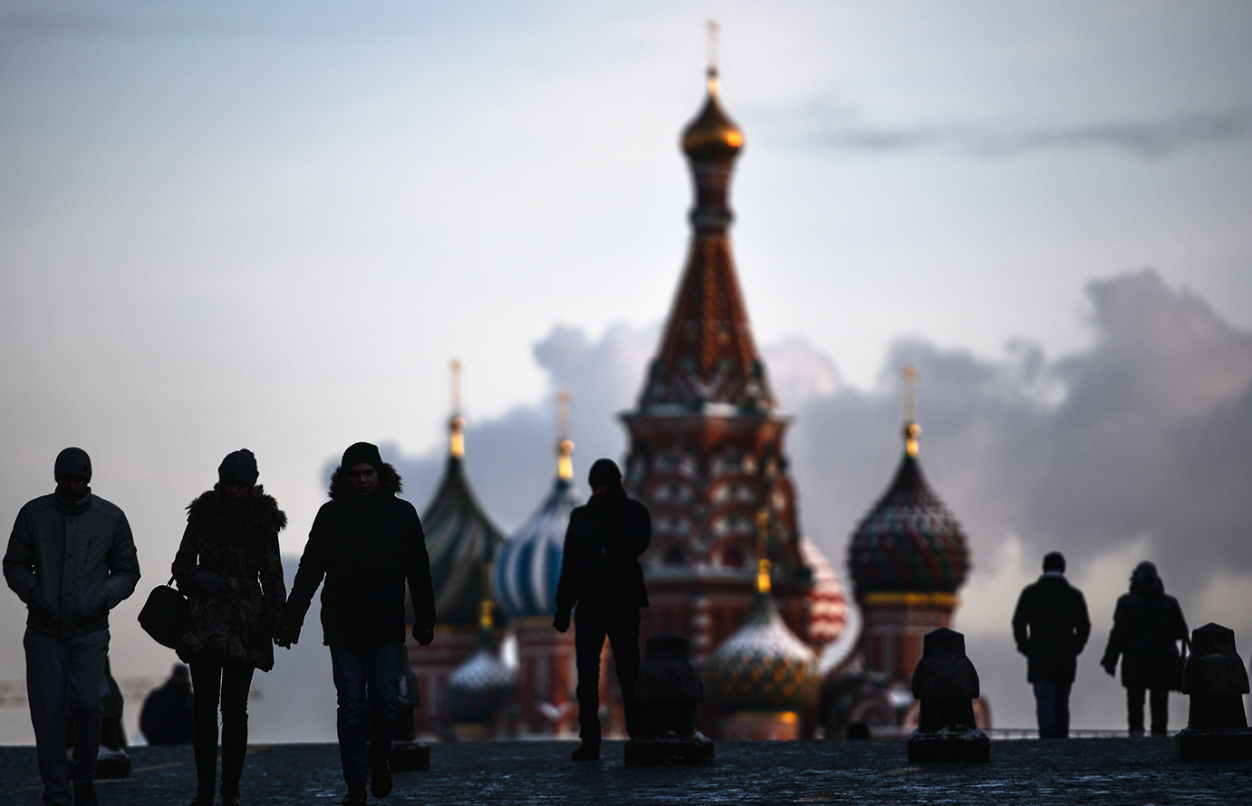 People walk along Moscow's central Red Square.