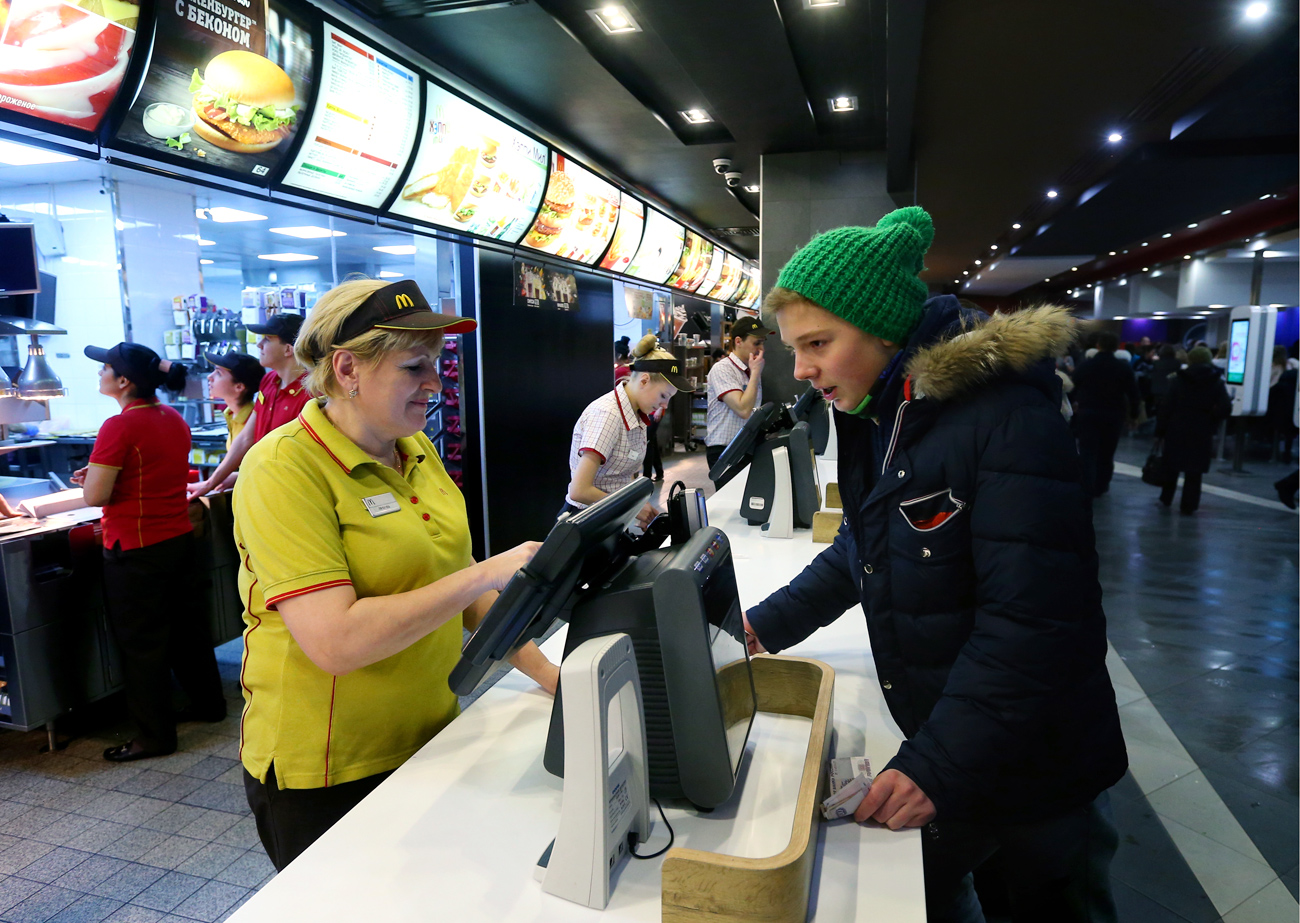 People at a McDonald's restaurant at Moscow's Pushkin Square.