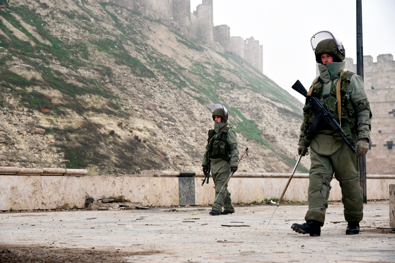 Russians demining Aleppo, February 2016.
