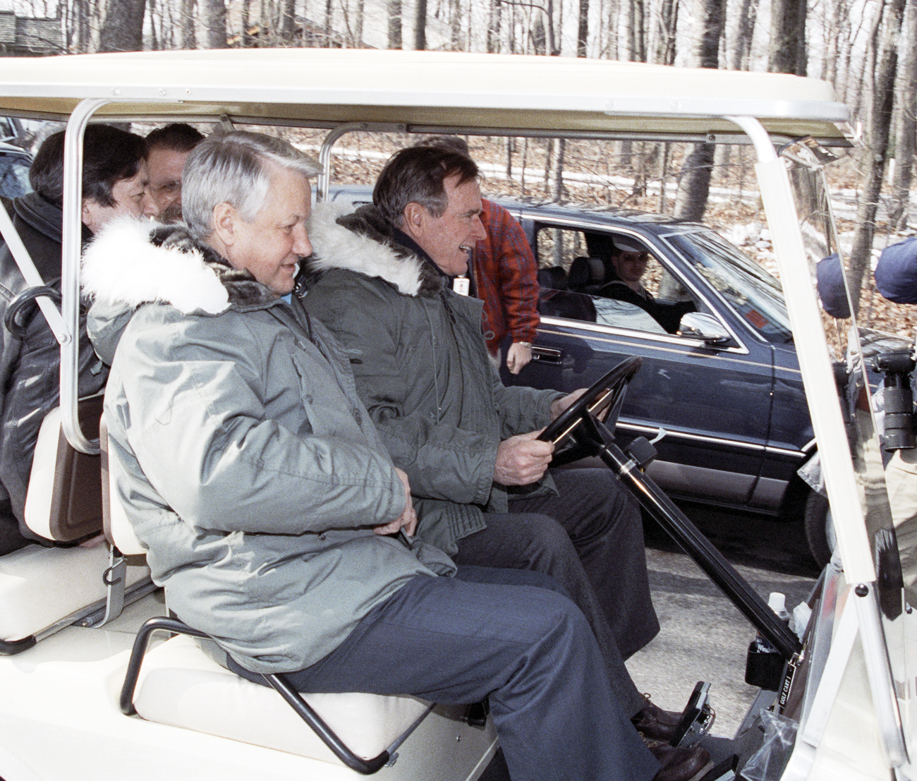 Russian President Boris Yeltsin oversaw the official end of the Cold War on Feb. 1, 1992 at a meeting with George Bush. Photo: Russian President Boris Yeltsin (left) and U.S. President George Bush (right) at Camp David.