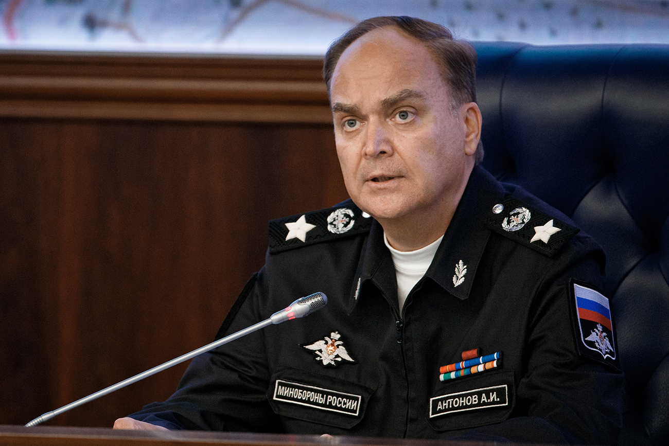 In December, President Putin transferred Antonov from the Defense Ministry to the Foreign Ministry, appointing him a deputy foreign minister. Photo: Deputy Defense Minister Anatoly Antonov at a Defense Ministry briefing in Moscow.