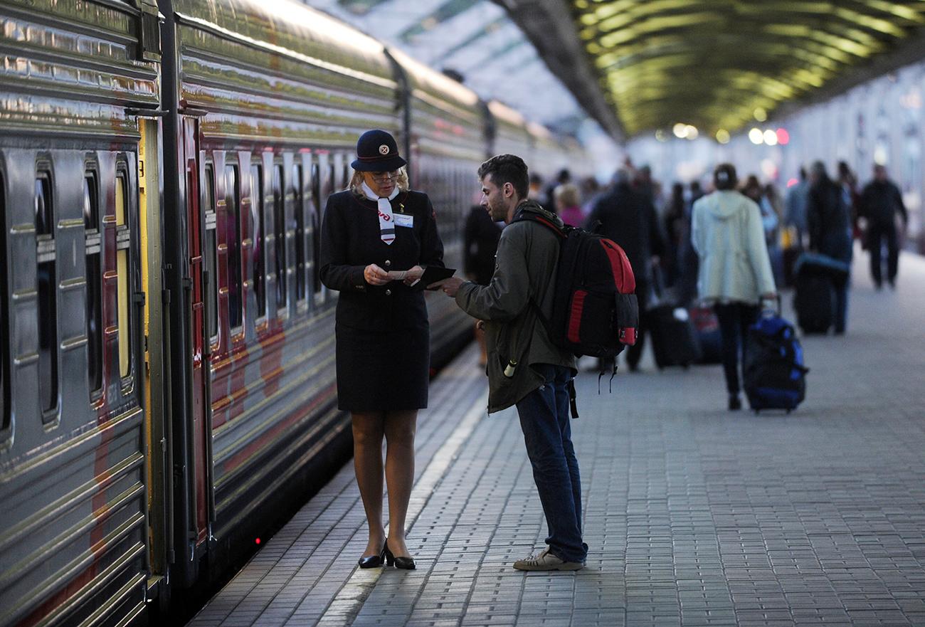 """Leo Tolstoy"" train to Helsinki stays on the platform of Leningradsky station in Moscow."