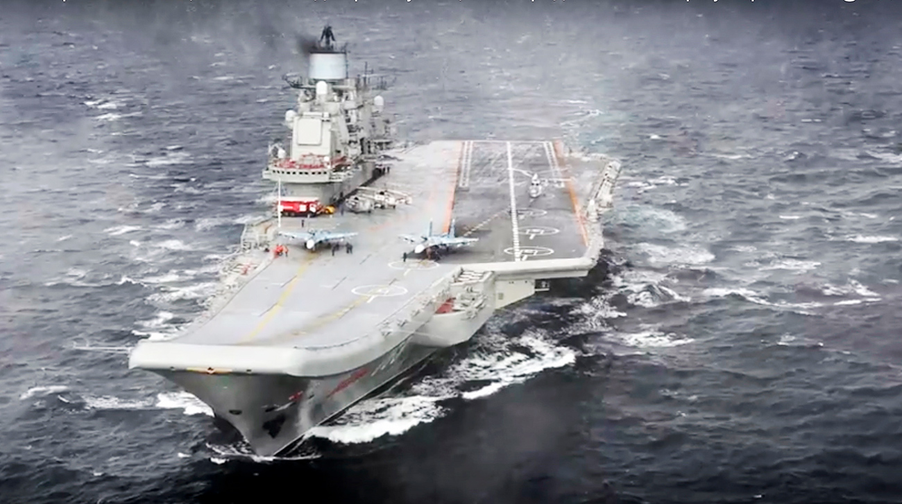 The Admiral Kuznetsov aircraft carrier is on a mission in the eastern Mediterranean Sea.